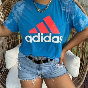 Adidas Custom Bleach Splatter Graphic Tee SZ XL